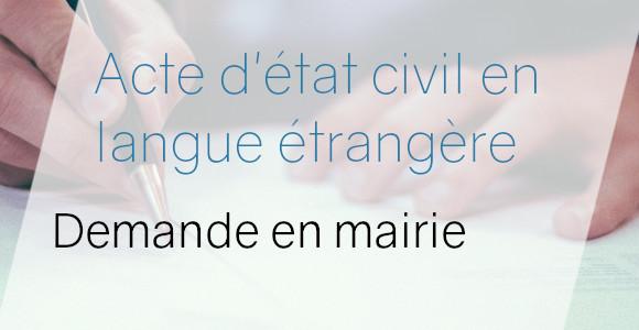 acte langue étrangère mairie