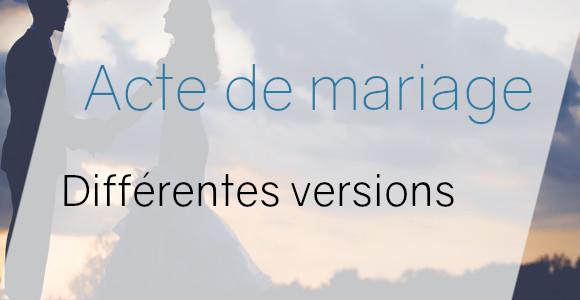 acte mariage versions
