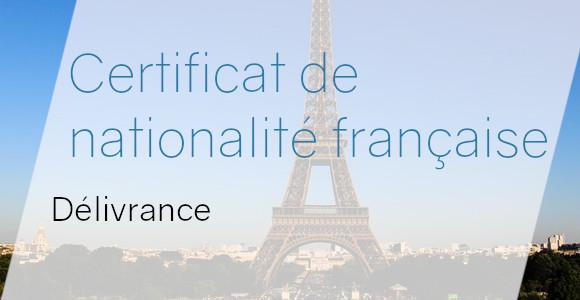 certificat nationalité française délivrance