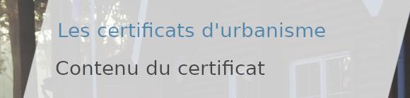 contenu certificat d'urbanisme